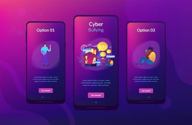 Modelo de interface de aplicativo de cyberbullying. Vetor Premium