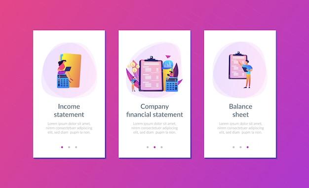 Modelo de interface de aplicativo de declaração de renda Vetor Premium