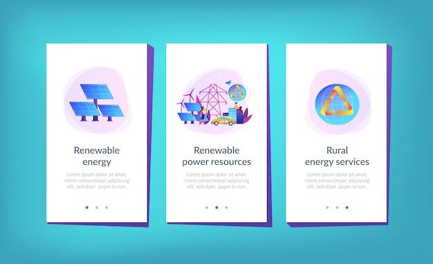 Modelo de interface de aplicativo de energia renovável. Vetor Premium
