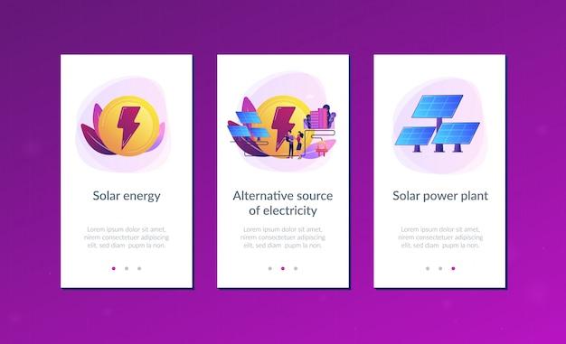 Modelo de interface de aplicativo de energia solar. Vetor Premium