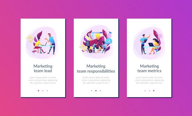 Modelo de interface de aplicativo de equipe de marketing digital Vetor Premium
