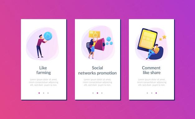 Modelo de interface de aplicativo de promoção de redes sociais Vetor Premium