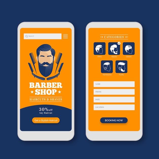 Modelo de interface de aplicativo de reserva de barbearia Vetor grátis