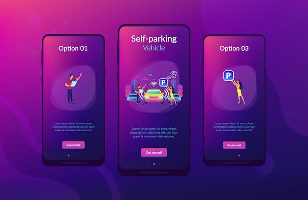 Modelo de interface de aplicativo de sistema de estacionamento com estacionamento próprio. Vetor Premium