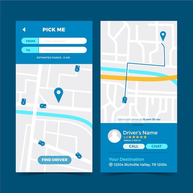 Modelo de interface de aplicativo de táxi Vetor grátis