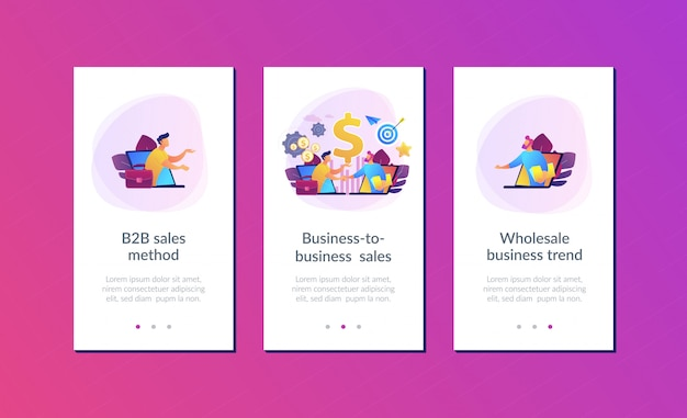 Modelo de interface de aplicativo de vendas business-to-business Vetor Premium