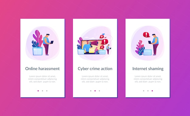 Modelo de interface de aplicativo de vergonha da internet. Vetor Premium