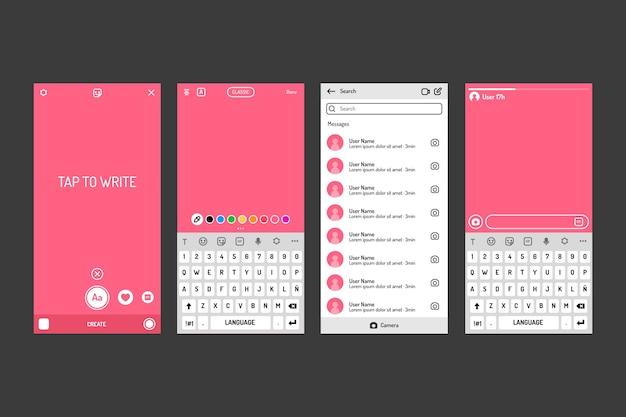 Modelo de interface de histórias do instagram com tons de rosa Vetor grátis
