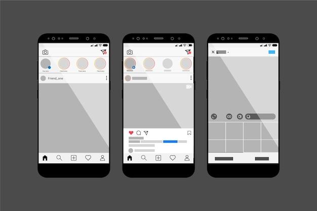 Modelo de interface de perfil do instagram com dispositivos móveis Vetor grátis