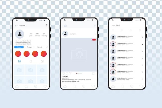 Modelo de interface de perfil do instagram com telefone celular Vetor grátis