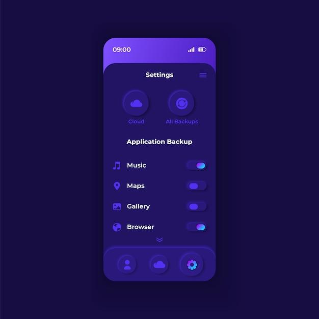 Modelo de interface de smartphone para configurações de som da natureza Vetor Premium