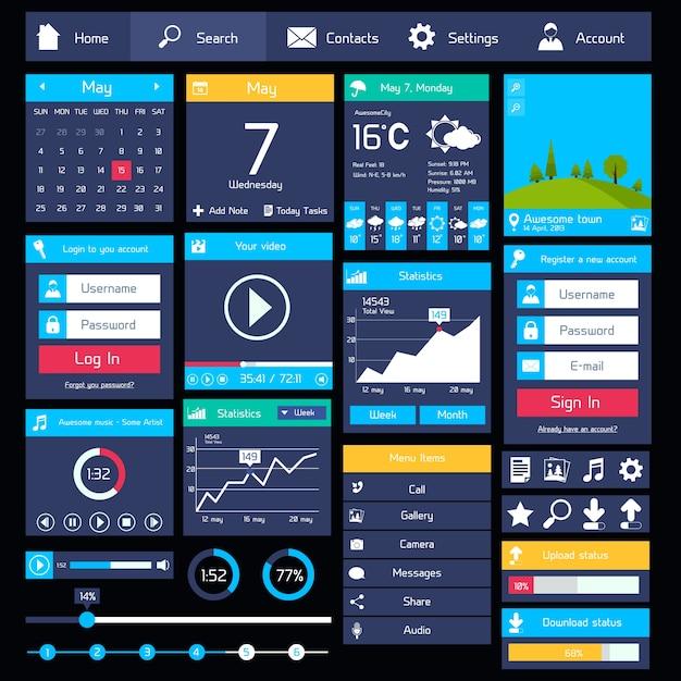 Modelo de interface de usuário plano Vetor Premium