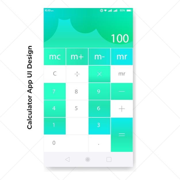 Modelo de interface do usuário do aplicativo calculadora Vetor Premium