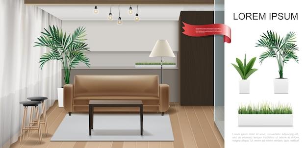 Modelo de interior de casa realista com cadeiras de mesa de aquário em plantas de lâmpadas de assoalho de madeira e grama em ilustração de vasos de flores Vetor Premium