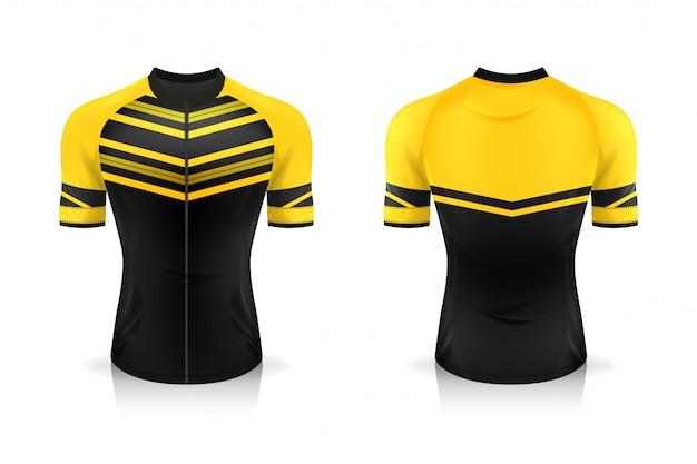 Modelo de jersey de ciclismo de especificação. esporte camiseta uniforme gola redonda para vestuário de bicicleta. ilustração, camadas de trabalho separadas. Vetor Premium