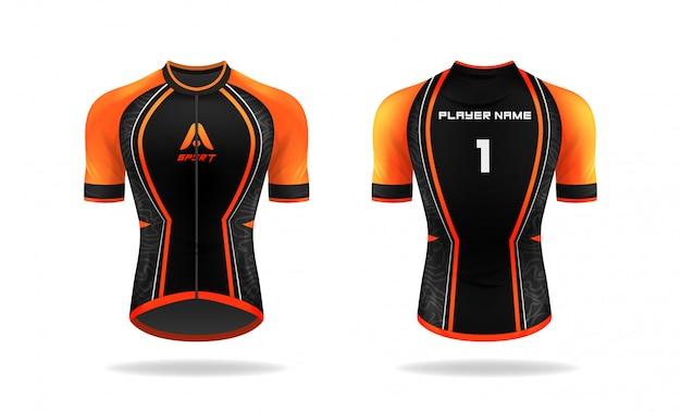 Modelo de jersey de ciclismo de especificação. mock up sport t shirt gola redonda uniforme para vestuário de bicicleta. projeto de ilustração vetorial, camadas de trabalho separadas. Vetor Premium