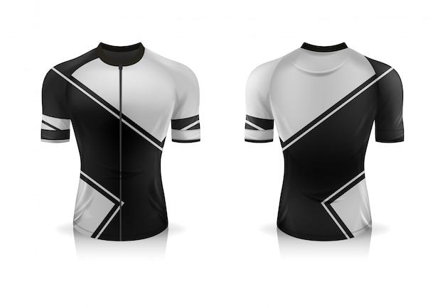 Modelo de jersey de ciclismo de especificação. mock up sport t shirt gola redonda uniforme para vestuário de bicicleta. Vetor Premium