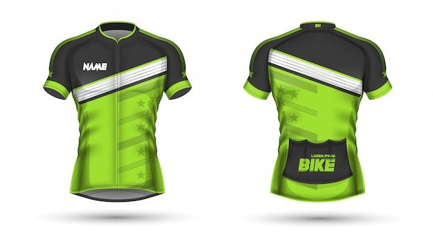 Modelo de jersey de ciclismo Vetor Premium