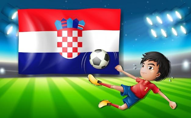 Modelo de jogador de futebol da croácia Vetor Premium