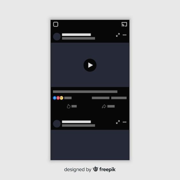Modelo de jogador multimídia plano facebook Vetor grátis