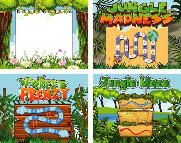 Modelo de jogo com muitas árvores na selva Vetor Premium