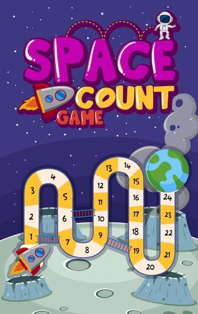 Modelo de jogo com números no espaço Vetor Premium