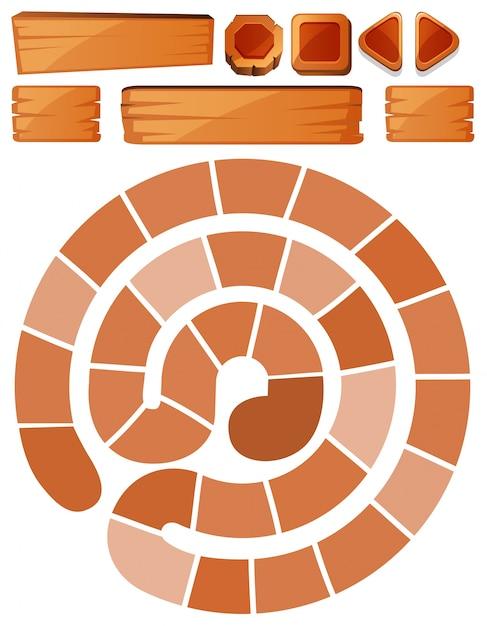 Modelo de jogo com sinais em espiral e madeira Vetor grátis