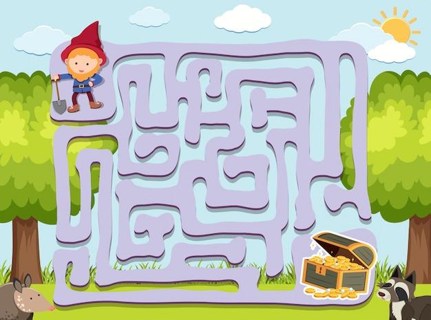 Modelo de jogo de labirinto com anão e ouro Vetor Premium