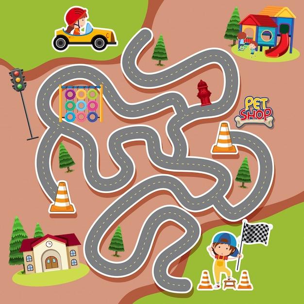 Modelo de jogo de labirinto com criança em carro de corrida Vetor Premium