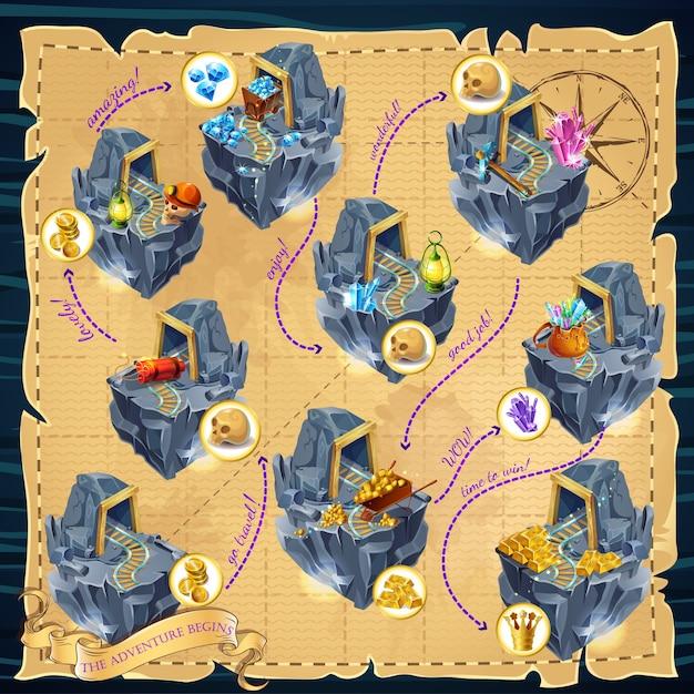 Modelo de jogo de mineração de desenho animado Vetor grátis