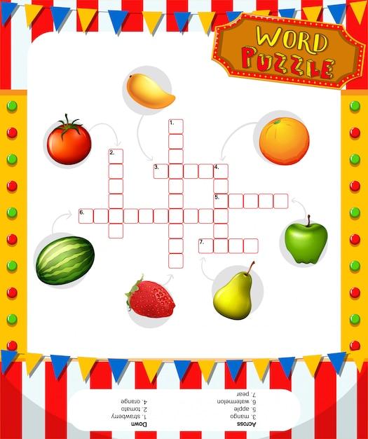 Modelo de jogo de palavras cruzadas com frutas Vetor grátis