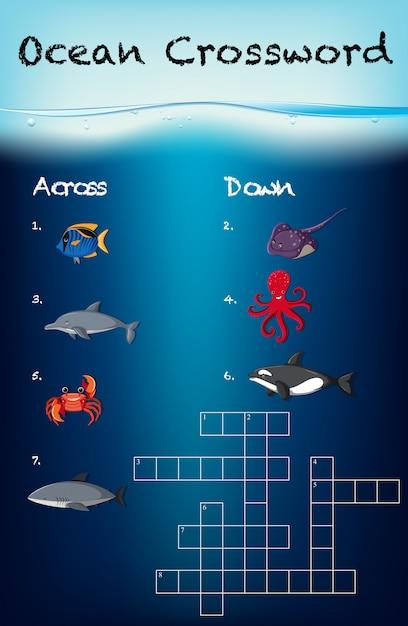 Modelo de jogo de palavras cruzadas do oceano Vetor Premium