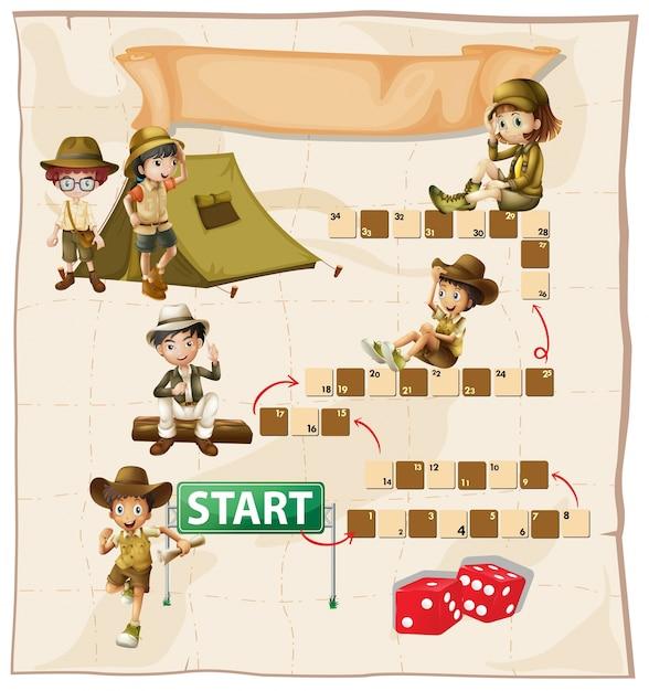 Modelo de jogo de tabuleiro com as crianças acampadas Vetor grátis