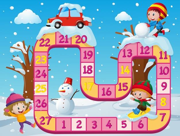 Modelo de jogo de tabuleiro com as crianças na neve Vetor grátis