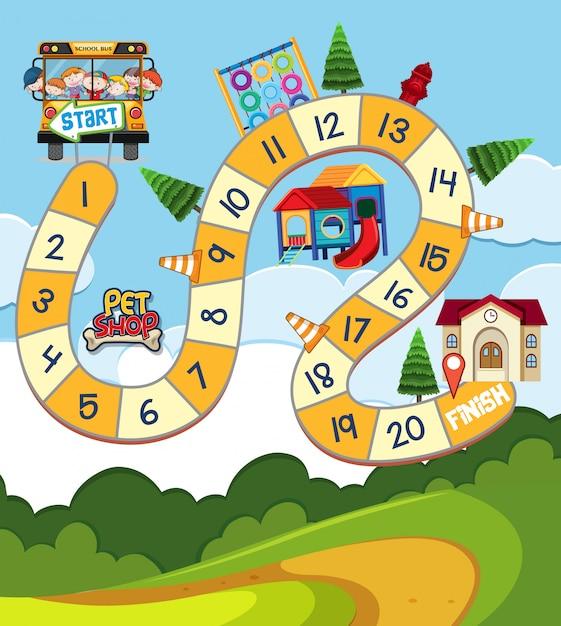 Modelo de jogo de tabuleiro com crianças em ônibus escolar Vetor Premium