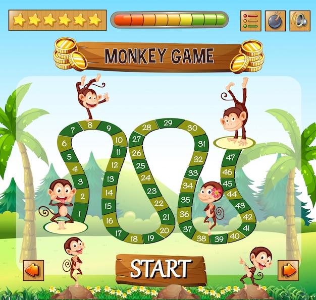 Modelo de jogo de tabuleiro de macaco Vetor Premium