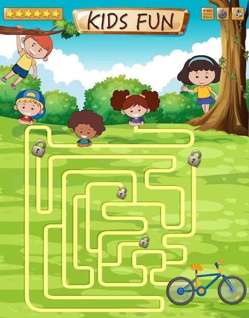 Modelo de jogo divertido de crianças Vetor Premium