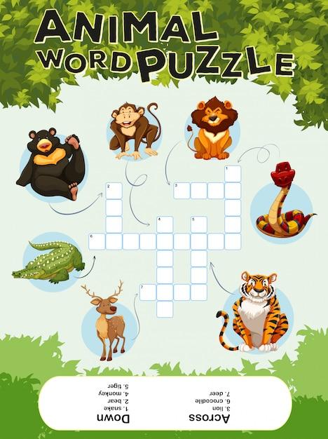 Modelo de jogo para animais de quebra-cabeça de palavras Vetor grátis
