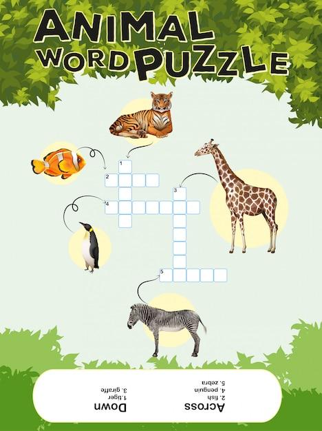Modelo de jogo para quebra-cabeça palavra animal com chaves Vetor grátis