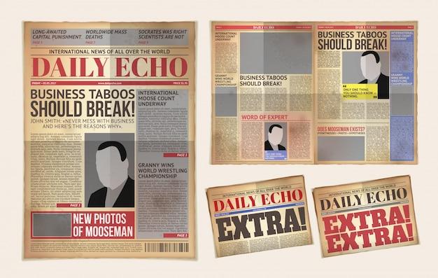 Modelo de jornal antigo do jornal, tablóide, reportagem de publicação de layout Vetor grátis