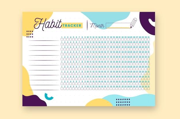 Modelo de jornal de impressão do habit tracker Vetor grátis