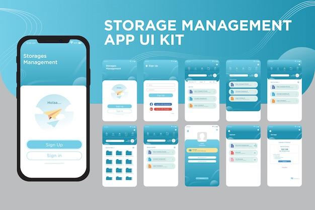 Modelo de kit de interface do usuário do aplicativo de gerenciamento de armazenamento Vetor Premium