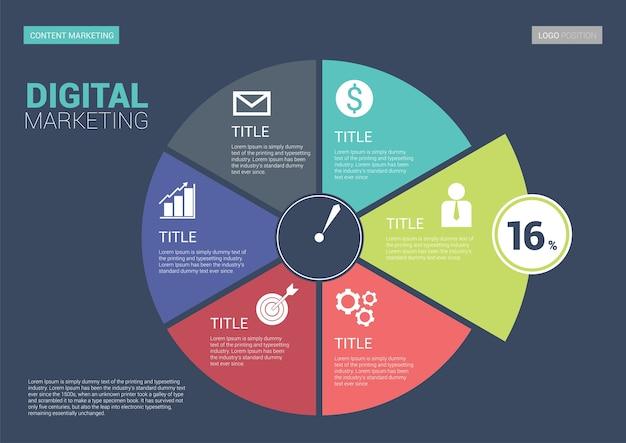 Modelo de lado infográfico marketing digital. tamanho da escala a5. Vetor Premium