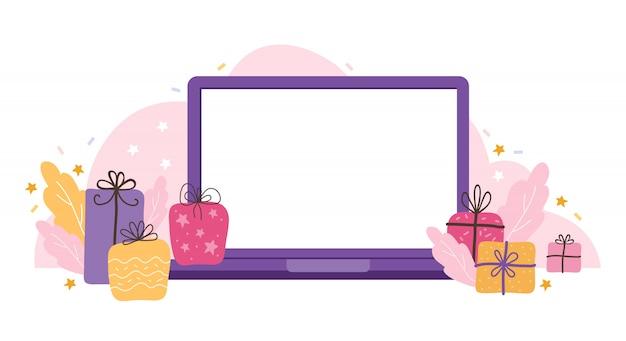Modelo de laptop com uma tela vazia em um fundo de férias. dispositivo em branco simulado com presentes, estrelas e serpentinas. conceitos de ilustração plana para desenvolvimento de sites e sites para celular. Vetor Premium