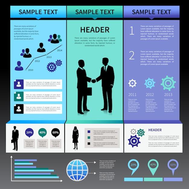 Modelo de layout de apresentação de infográficos com silhuetas de pessoas de negócios e ícones Vetor grátis