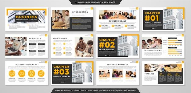 Modelo de layout de apresentação de negócios com estilo minimalista Vetor Premium