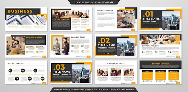 Modelo de layout de apresentação de negócios estilo premium Vetor Premium