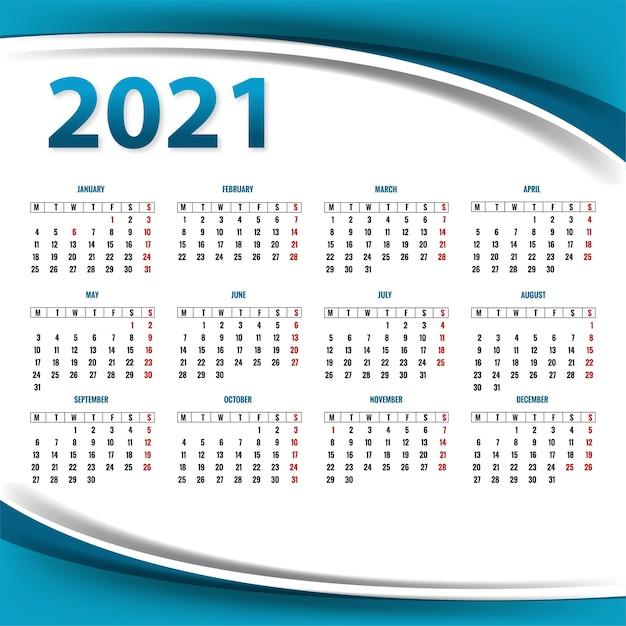 Modelo de layout de calendário 2021 moderno para fundo de onda Vetor grátis