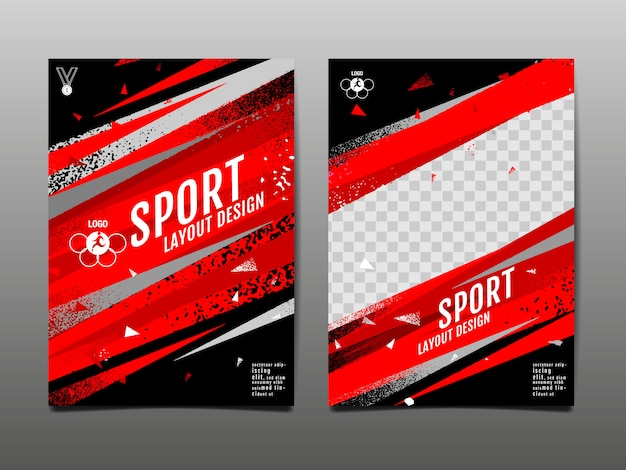 Modelo de layout de esporte grunge abstrato Vetor Premium