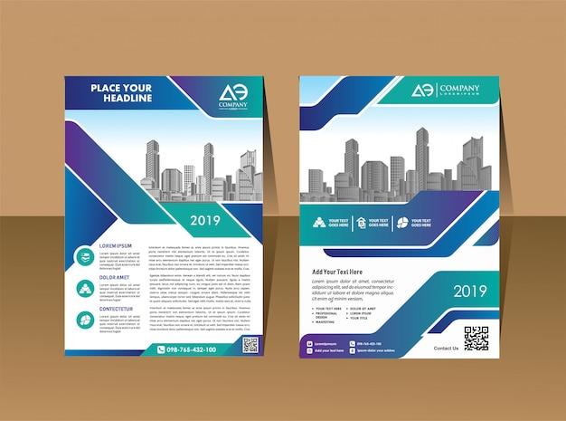 Modelo de layout de folheto corporativo com forma moderna Vetor Premium